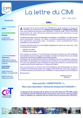 Lettre du CIMI Analyse de la valeur