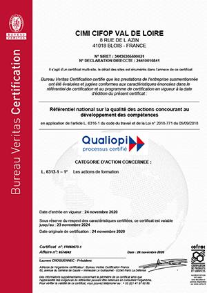 Certificat Qualiopi CIMI